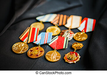 RUSSIA, MOSCOW - 2014: Medals of a victory in the Great...