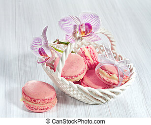 French macarons with orchid