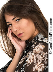 Eurasian woman - Closeup on the face of a beautiful petite...