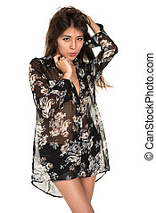 Sheer blouse - Beautiful petite Eurasian woman in a sheer...