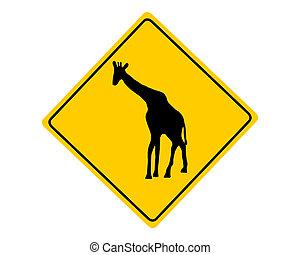 Giraffe warning sign