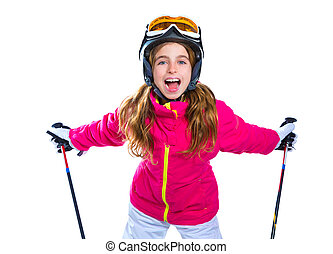 kid girl with ski poles helmet and goggles smiling on white...