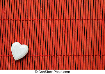 heart on red bamboo bottom corner left - white heart on red...