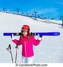 Kid girl winter snow with ski equipment - Kid girl winter...