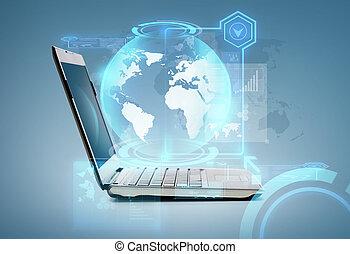 laptop, edv, erdball, hologramm