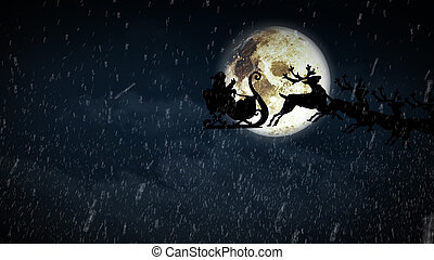 Santa Claus flying by the moon
