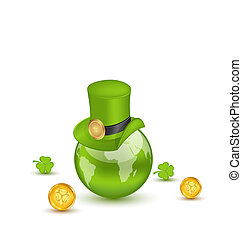 Illustration planet Earth with hat, clovers and coins in saint Patrick Day. Isolated on white background - vector