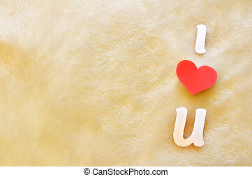 i love u on wool background - cutout letters i love u on...