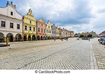 czech republic telc town square - the historic town square...