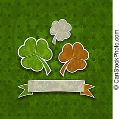 Illustration holiday background with clovers in Irish flag color for St. Patrick's Day - vector