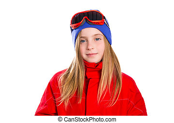 Blond kid girl winter portrait with ski snow goggles and...