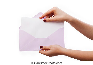 White letter in lilac envelope - Hands holding a blank...