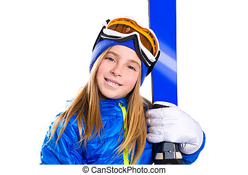 Kid girl ski with snow goggles and winter hat