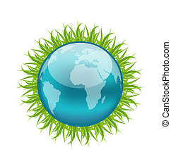Icon earth with grass, environment symbol