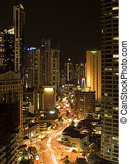 night scene Surfers Paradise Gold Coast Australia - highrise...
