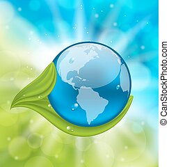 Planet Earth with green leaves - Illustration planet Earth...