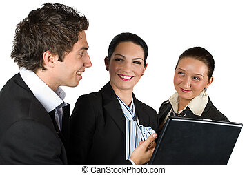 Business team at meeting - Three business people have a...