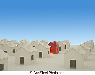 3D houses - 3D rendering of houses with blue background
