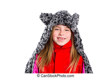 blond kid girl with winter gray feline fur scarf hat in...