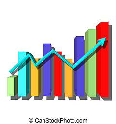 Multicolored bar graph with arrow