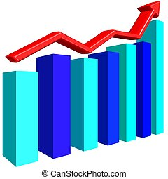Graph bar with red arrow