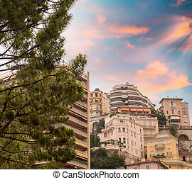 Monaco, France. View of Montecarlo skyline and buildings at dusk
