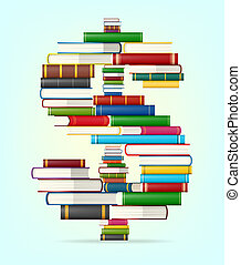 Dollar sign from stacks of multi colored books