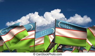 Waving Uzbek Flags (seamless & alpha channel)