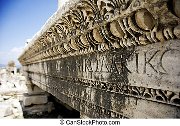 Ancient Tomb and Writing - A close-up and low Depth of Field...