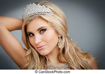 Beauty Queen Portrait - Girl wearing tiara and sparkling...