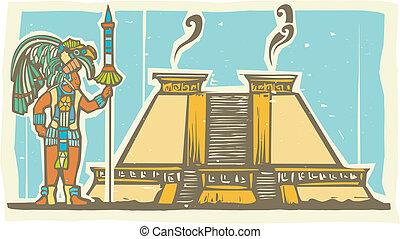 Mayan Warrior and Pyramid