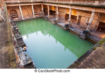The Great Bath at the Roman Baths - The Great Bath, part of...
