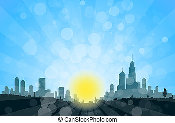 Nature Landscape with City Silhouette