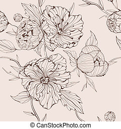 Vector sepia seamless background with peony - Vector beige...
