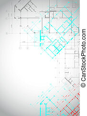 Gray architectural background with building plans - Vector...