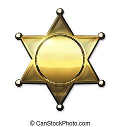 Golden Sheriff Badge - Golden Sheriff Star - isolated on...