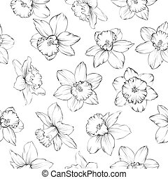 Seamless pattern with flowers narcissus.