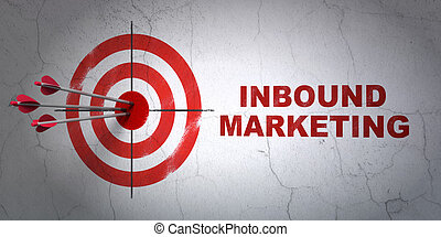Business concept: target and Inbound Marketing on wall...
