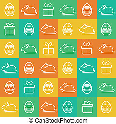 Seamless Easter background with flat style elements