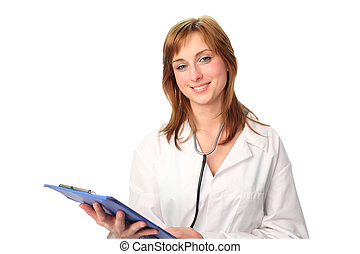 Doctor with Clipboard - Confient female Doctor with...
