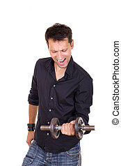 persistent determined man in black shirt lifting weights