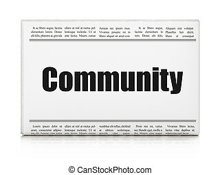 Social network concept: newspaper headline Community