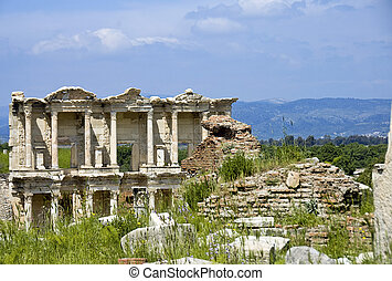 Library View - Photo of an ancient two-storey library ruin...