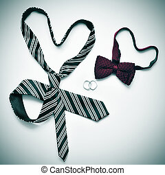 gay marriage - a tie and a bow tie forming hearts and...