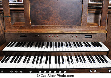 organ - keyboard of old organ in a church