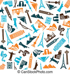 world buildings seamless pattern