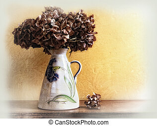 vase with dried hydrangeas - white vase with dried...
