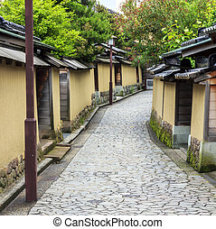 A street in the old samurai quarter in Kanazawa, Japan - A...