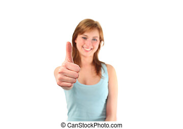 Girl with Thumb up to the camera