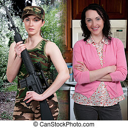 Woman Military Mom - Beautiful woman military mom ready for...